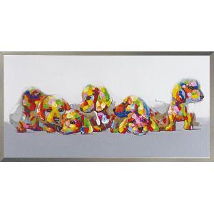 絵画 油絵 肉筆絵画 壁掛け (額縁 アートフレーム付き) オイル ペイント アート「カラフル パピー」|touo