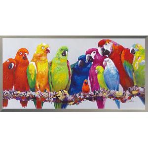 絵画 油絵 肉筆絵画 壁掛け (額縁 アートフレーム付き) オイル ペイント アート「カラフル パロット」|touo