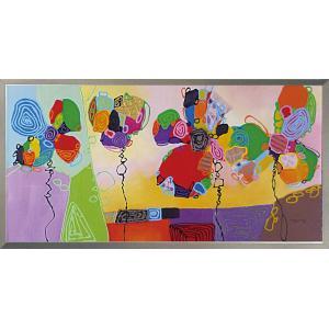 絵画 油絵 肉筆絵画 壁掛け (額縁 アートフレーム付き) オイル ペイント アート「ビビッド フラワーズ」|touo