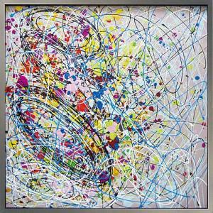 絵画 油絵 肉筆絵画 壁掛け (額縁 アートフレーム付き) オイル ペイント アート「アブストラクト2」|touo