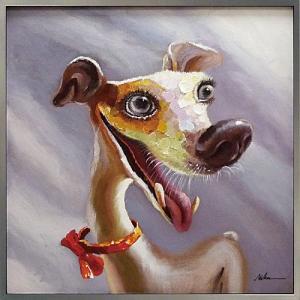 絵画 油絵 肉筆絵画 壁掛け (額縁 アートフレーム付き) オイル ペイント アート「ファニー ドッグ」|touo