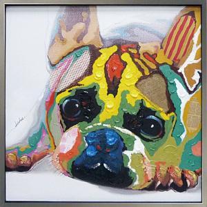 絵画 油絵 肉筆絵画 壁掛け (額縁 アートフレーム付き) オイル ペイント アート「カラフル ブルドッグ」|touo
