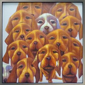 絵画 油絵 肉筆絵画 壁掛け (額縁 アートフレーム付き) オイル ペイント アート「ドッグ フェイス」|touo
