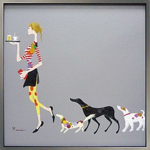 絵画 油絵 肉筆絵画 壁掛け (額縁 アートフレーム付き) オイル ペイント アート「ドッグ アンド ウェイター」|touo