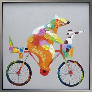 絵画 油絵 肉筆絵画 壁掛け (額縁 アートフレーム付き) オイル ペイント アート「タンデム」|touo