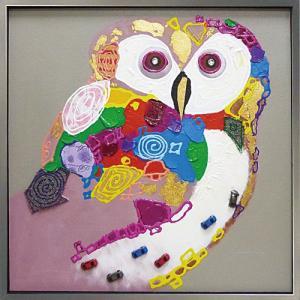 絵画 油絵 肉筆絵画 壁掛け (額縁 アートフレーム付き) オイル ペイント アート「カラフル オウル」|touo