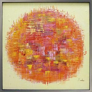 絵画 油絵 肉筆絵画 壁掛け (額縁 アートフレーム付き) オイル ペイント アート「オレンジ ボール」|touo