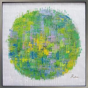 絵画 油絵 肉筆絵画 壁掛け (額縁 アートフレーム付き) オイル ペイント アート「グリーン ボール」|touo