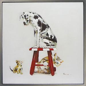 絵画 油絵 肉筆絵画 壁掛け (額縁 アートフレーム付き) オイル ペイント アート「ベスト フレンド3」|touo