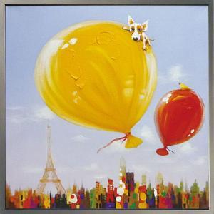 絵画 油絵 肉筆絵画 壁掛け (額縁 アートフレーム付き) オイル ペイント アート「バルーン ドッグ」|touo