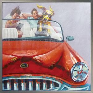 絵画 油絵 肉筆絵画 壁掛け (額縁 アートフレーム付き) オイル ペイント アート「ドッグ ドライブ」|touo