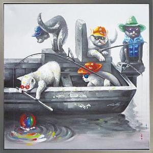 絵画 油絵 肉筆絵画 壁掛け (額縁 アートフレーム付き) オイル ペイント アート「キャッツ フィッシング」|touo