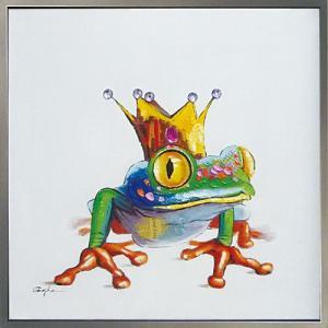 絵画 油絵 肉筆絵画 壁掛け (額縁 アートフレーム付き) オイル ペイント アート「キング フロッグ」|touo