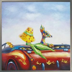 絵画 油絵 肉筆絵画 壁掛け (額縁 アートフレーム付き) オイル ペイント アート「ドライブ デート」|touo