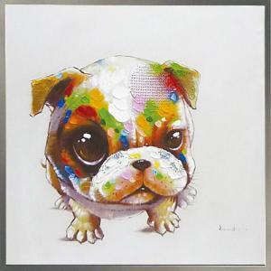 絵画 油絵 肉筆絵画 壁掛け (額縁 アートフレーム付き) オイル ペイント アート「キュート ドッグ」|touo