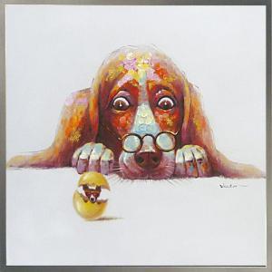 絵画 油絵 肉筆絵画 壁掛け (額縁 アートフレーム付き) オイル ペイント アート「エッグ ドッグ」|touo