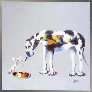 絵画 インテリア 油絵 壁掛け 額縁付 オイル ペイント アート「ドッグ ペインティング」|touo