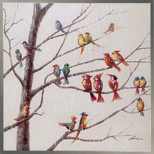 絵画 インテリア 油絵 壁掛け 額縁付 オイル ペイント アート「バード オン ブランチ」|touo