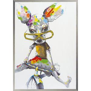 絵画 油絵 肉筆絵画 壁掛け (額縁 アートフレーム付き) オイル ペイント アート「ストレンジ チワワ2」|touo