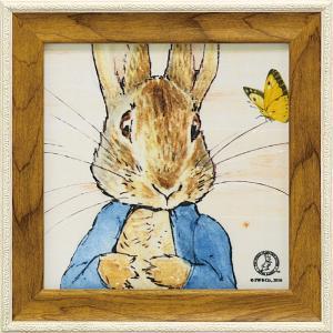 絵画 インテリア アートポスター 壁掛け (額縁 アートフレーム付き) ピーター ラビット ミニゲル アートフレーム「ピーターとちょうちょ」|touo