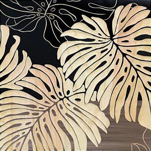インテリア アート 壁掛け ウッド スカルプチャー アート「ワイルド モンステラS(BK+NP)」|touo