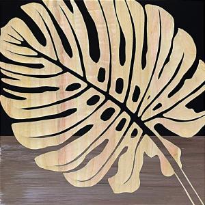 インテリア アート 壁掛け ウッド スカルプチャー アート「シングル モンステラ2(BK+NP)」|touo