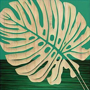 インテリア アート 壁掛け ウッド スカルプチャー アート「シングル モンステラ2(GR+NP)」|touo