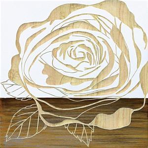インテリア アート 壁掛け ウッド スカルプチャー アート「ローズ2(WH+NP)」|touo