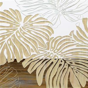 インテリア アート 壁掛け ウッド スカルプチャー アート「ワイルド モンステラ(WH+NP)」|touo