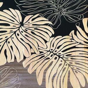 インテリア アート 壁掛け ウッド スカルプチャー アート「ワイルド モンステラ(BK+NP)」|touo