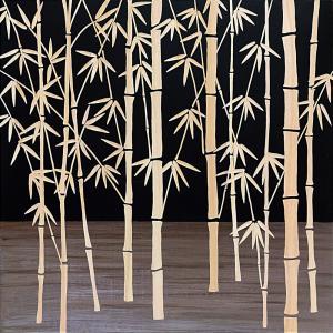 インテリア アート 壁掛け ウッド スカルプチャー アート「フォレスト バンブー(BK+NP)」|touo