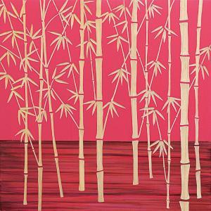 インテリア アート 壁掛け ウッド スカルプチャー アート「フォレスト バンブー(RD+NP)」|touo