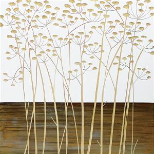 インテリア アート 壁掛け ウッド スカルプチャー アート「フィールド フラワー2(WH+NP)」|touo