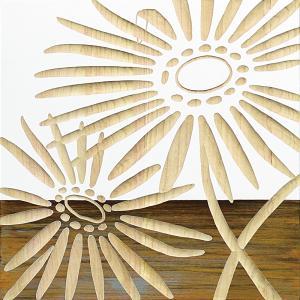 インテリア アート 壁掛け ウッド スカルプチャー アート「ネーチャー ガーベラ2(WH+NP)」|touo