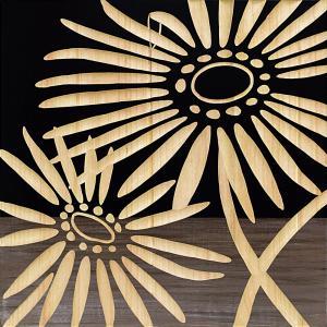 インテリア アート 壁掛け ウッド スカルプチャー アート「ネーチャー ガーベラ2(BK+NP)」|touo