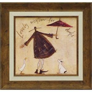 絵画 インテリア アートポスター 壁掛け (額縁 アートフレーム付き) サム トフト「アヒルの好きなお天気」|touo