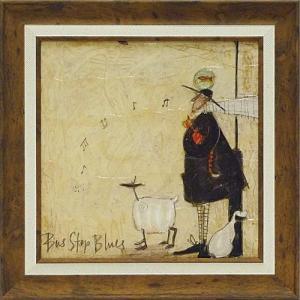 絵画 インテリア アートポスター 壁掛け (額縁 アートフレーム付き) サム トフト「バスストップ ブルース」|touo