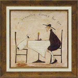 絵画 インテリア アートポスター 壁掛け (額縁 アートフレーム付き) サム トフト「2人のロマンティックディナー」|touo