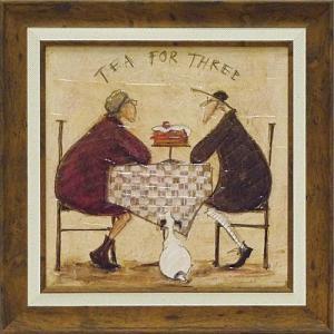 絵画 インテリア アートポスター 壁掛け (額縁 アートフレーム付き) サム トフト「3人でお茶」|touo