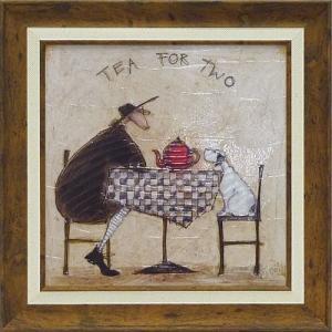 絵画 インテリア アートポスター 壁掛け (額縁 アートフレーム付き) サム トフト「2人でお茶」|touo