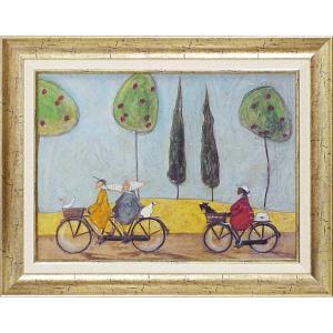 絵画 インテリア アートポスター 壁掛け (額縁 アートフレーム付き) サム トフト「みんなでサイクリング」|touo