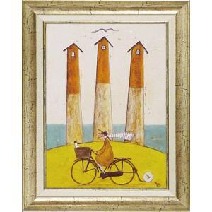 絵画 インテリア アートポスター 壁掛け (額縁 アートフレーム付き) サム トフト「海辺のサイクリング」|touo