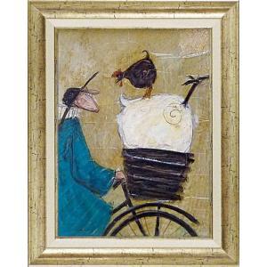 絵画 インテリア アートポスター 壁掛け (額縁 アートフレーム付き) サム トフト「ニワトリとにらめっこ」|touo