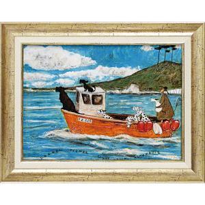 絵画 インテリア アートポスター サム トフト「犬と釣り人と小さな船」|touo