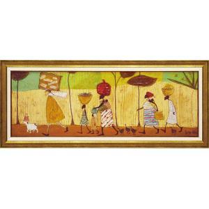 絵画 インテリア アートポスター 壁掛け (額縁 アートフレーム付き) サム トフト「みんなでピクニック」|touo