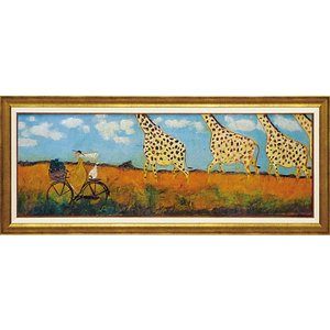 絵画 インテリア アートポスター 壁掛け (額縁 アートフレーム付き) サム トフト「キリンと大行進」|touo