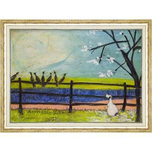 絵画 インテリア アートポスター 壁掛け (額縁 アートフレーム付き) サム トフト「ドリスと鳥たち」|touo