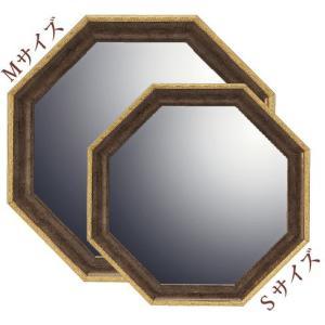 インテリア 開運鏡 壁掛け ヴィンテージ八角ミラー「ブラウン(Sサイズ)」|touo