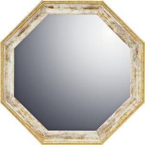 インテリア 開運鏡 壁掛け ヴィンテージ八角ミラー「ホワイトゴールド(Mサイズ)」|touo