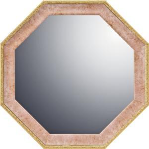 インテリア 開運鏡 壁掛け ヴィンテージ八角ミラー「ピンク(Mサイズ)」|touo